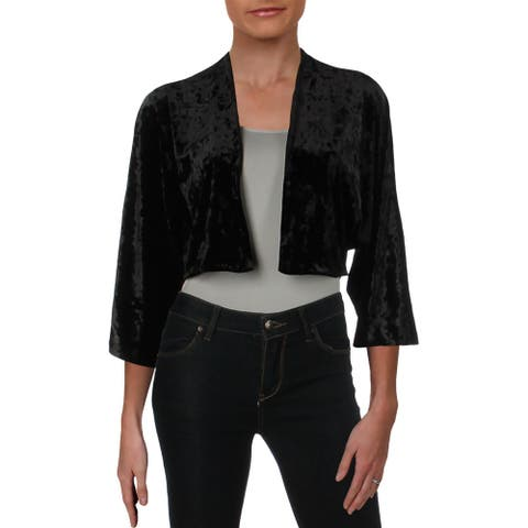 Lauren Ralph Lauren Womens Balvino Blazer Velvet Cropped - Black