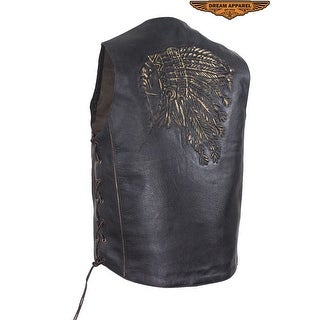Mens Native American Retro Brown Leather Vest - Size - 44