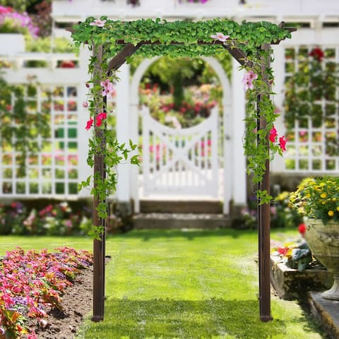 Outsunny 7' Wood Steel Outdoor Garden Arched Trellis Arbor with Natural Fir Wood & Side Panel for Climbing Vines
