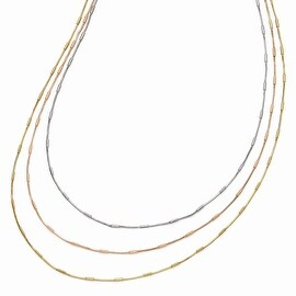 Italian Sterling Silver Rose & Yellow Gold-plated 3 Strand Necklace - 36 inches