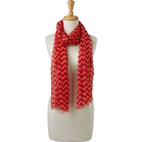 Tickled Pink Zigzag Fringed Scarf