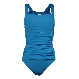 Swim Solutions Women's Wide-Strap Draped-Front Swimsuit (8, Peacock) - 8