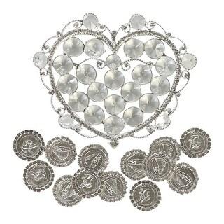 Angels Garment Silver Glamorous Heart Shaped Holder Coins Wedding Arras