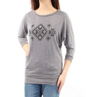 HIPPIE ROSE Womens New 1127 Gray Printed Long Sleeve Sweater M Juniors B+B