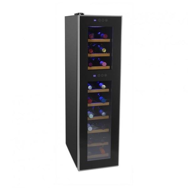 Cuisinart CWC-1800DZTS 18 bottle Dual Zone Wine Cellar, Black & Stainless