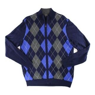 Club Room NEW Navy Blue Mens Size 2XLarge Full Zip Argyle Sweater