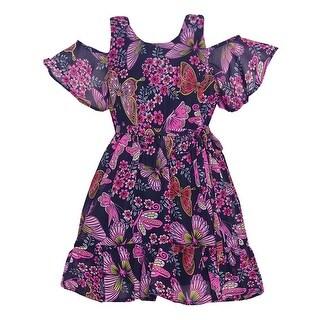 Girls Black Butterfly Allover Print Cold-Shoulder Easter Dress