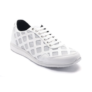 Versace Collections Men's Laser Cut Leather Mesh Sneaker Shoes White