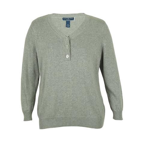 Karen Scott Women's V-Neck Button Detailed Sweater