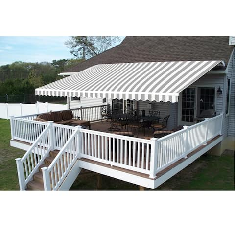 ALEKO Outdoor Garden Retractable Patio Awning 8X6.5 ft Grey/White
