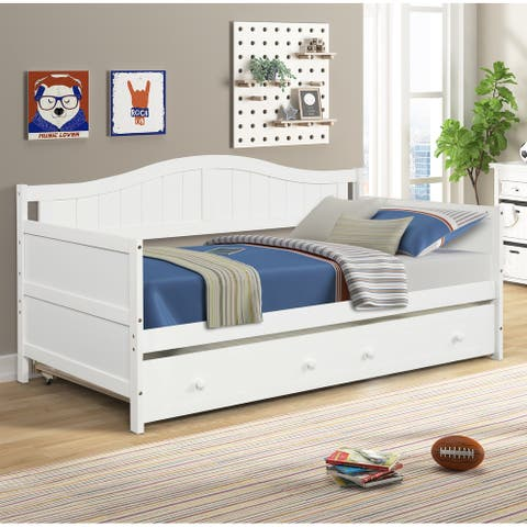 TiramisuBest Pull-Out Bunk Bed Daybed With Trundle
