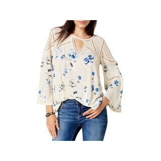 Lucky Brand Womens Peasant Top Knit Lace