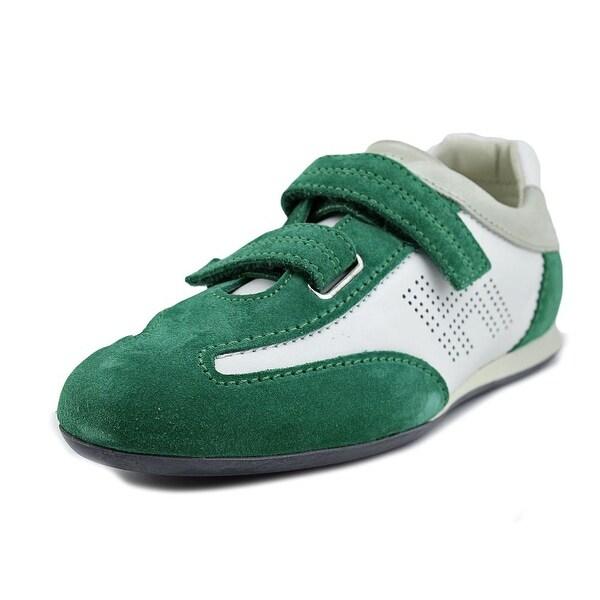 Hogan Olympia Doppio Strap Women  Round Toe Suede Green Sneakers