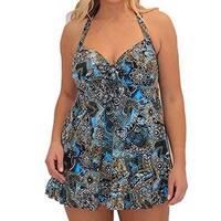 Fit 4 U Womens Plus Size V Hem Bandeau Tankini, Blue - 20W