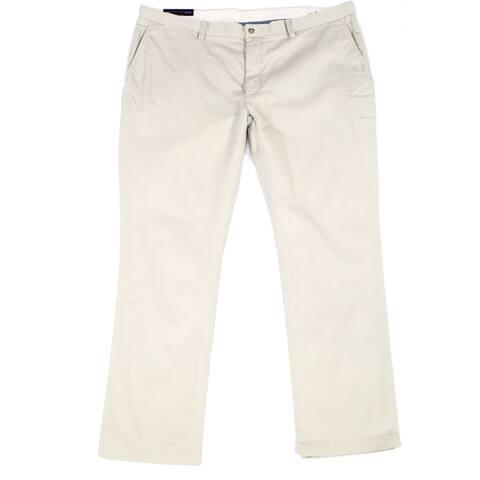 Polo Ralph Lauren Mens Chino Pants Beige Size 42x30 Flat Front Slim Fit