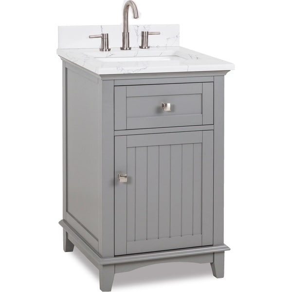 "Jeffrey Alexander VN-SAV-24-EC Savino 24"" Free Standing Single Basin Vanity Set with Wood Cabinet and Engineered Marble Vanity"
