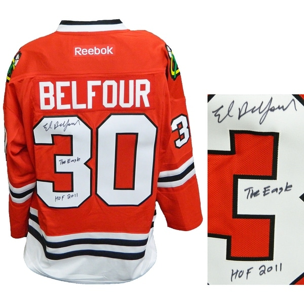 f6f8ede91 Ed Belfour Signed Chicago Blackhawks Red Reebok Premier Hockey Jersey wThe  Eagle