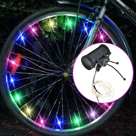 Image Bike Spoke Wheel Lights Bicycle LED Tire Rim Safety Lights Battery Powered Mix-color - SIZE