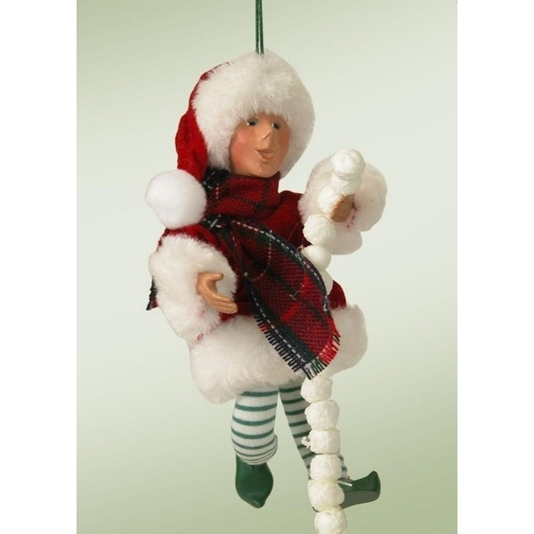 "6.5"" Kindles ""Pops"" Poseable Elf Figure Christmas Tree Ornament - RED"
