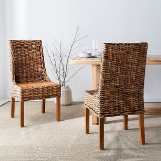 "Link to Safavieh Dining Rural Woven St Thomas Indoor Wicker Brown Sloping Arm Chairs (Set of 2) - 20"" x 24"" x 39"" Similar Items in Dining Room & Bar Furniture"