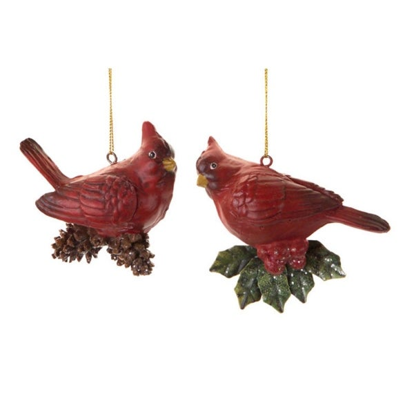 "Club Pack of 12 Cardinal with Pine Cones and Holly Leaves Christmas Ornament 2-Piece Sets 3.5"" - RED"