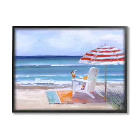 Stupell Industries Tropical Drink Beach Umbrella Chair Ocean Tide Landscape Framed Wall Art