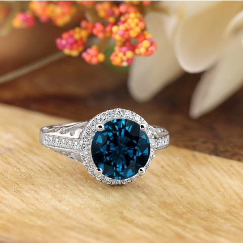 Auriya 2 5/8ct Fancy Round London Blue Topaz and Halo Diamond Engagement Ring 1/5ctw 14k Gold
