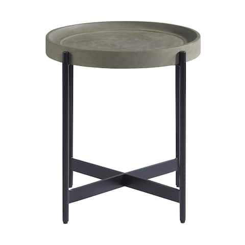 Brookline 20 in. Round Wood with Concrete-Coating End Table