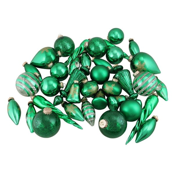 36-Piece Set of Green and Gold Asymmetrical Christmas Ornaments