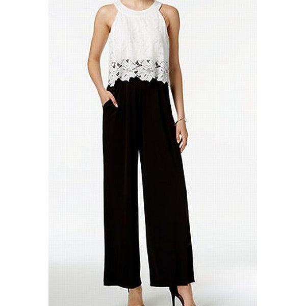 487c5fef5584 Sangria NEW Black White Floral Lace Popover Colorblocked 14 Jumpsuit - Free  Shipping On Orders Over  45 - Overstock - 27498159