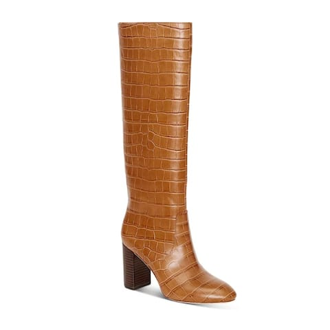 Loeffler Randall Women's Leather Goldy Croc Embossed Tall Boots Brown