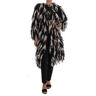 Dolce & Gabbana Black White Fringes Coat Wool Coat