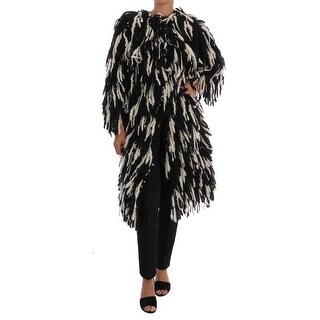 Dolce & Gabbana Dolce & Gabbana Black White Fringes Coat Wool Coat
