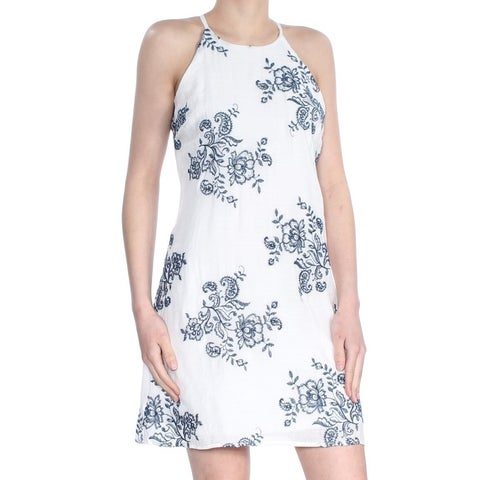 BCX Womens White Embroidered Floral Sleeveless Halter Above The Knee Shift Dress Size: XS