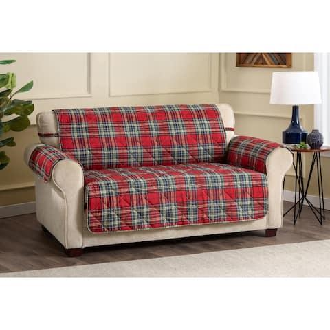ITS Tartan Plaid Secure Fit Sofa Cover