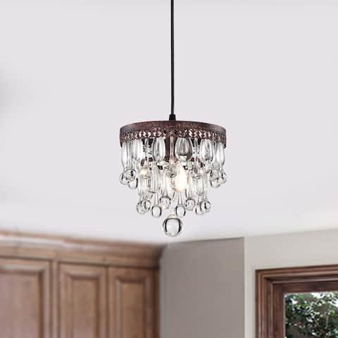 Shiroh Antique Copper 1-Light 5-Tier Hanging Crystals Pendant Light