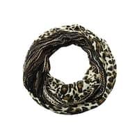 Collection Eighteen Women's Cheetah Print Crotchet Infinity Scarf - Black - os