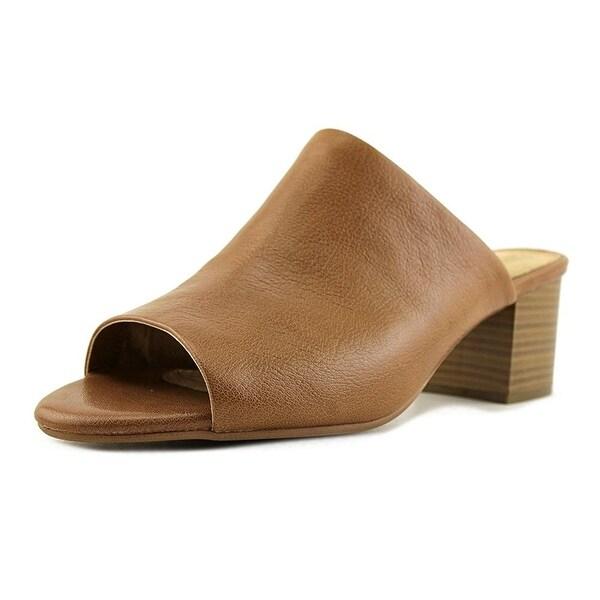 Aerosoles Midterm Women Open Toe Leather Tan Slides Sandal