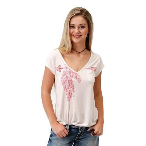 Roper Western Shirt Womens Short Sleeve Tee Cream