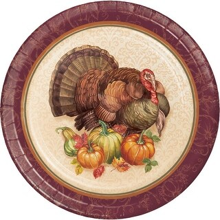 """Pack of 96 Purple and Brown Pumpkins and Turkey Rounded Plate 8.875"""""""