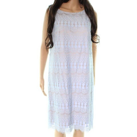 Eliza J Blue Crochete Sleeveless Women's Size 14 Sheath Dress