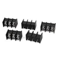 Unique Bargains 300V 20A ZB45 3P 3 Position 8mm Pitch Screw Terminal Barrier Blocks Black 5pcs
