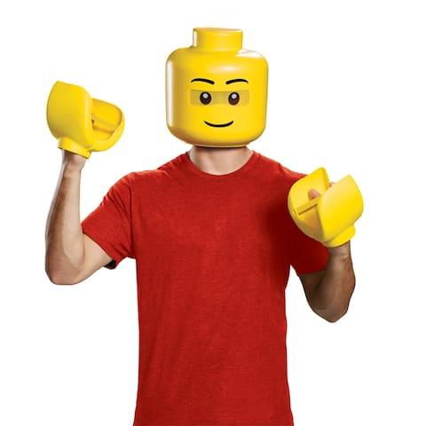 Adult LEGO Guy Mask & Hands Costume Kit - Standard - One Size