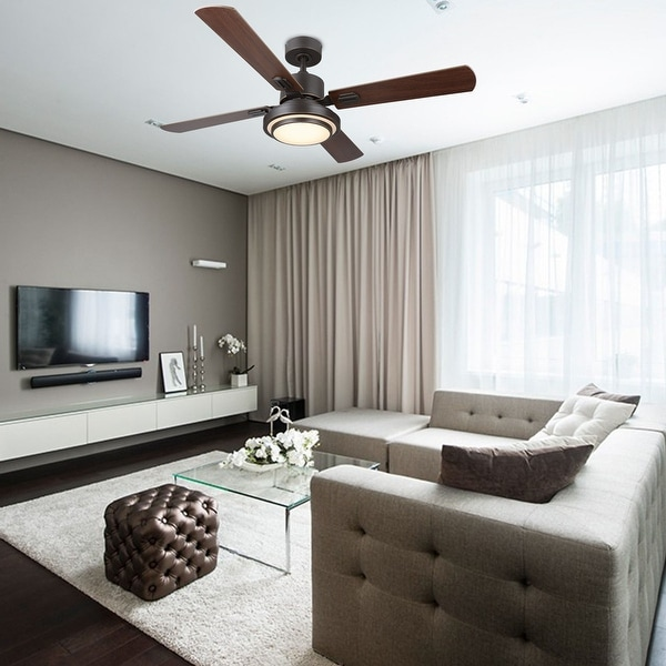 "CO-Z 52"" 4-Blade Reversible Contemporary LED Ceiling Fan with Remote Control and Light Kit. Opens flyout."