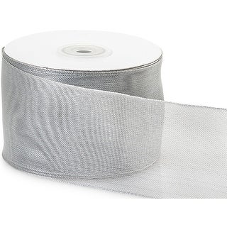 "Pack Of 1, Solid Silver Wired Metallic Mesh Ribbon 2.5"" X 25 Yards Perfect For Weddings, Christmas, Valentine's Day & Florists"