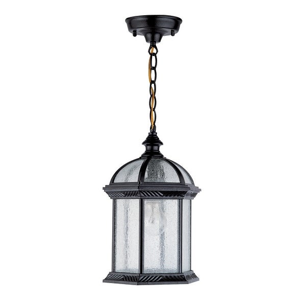 "DVI Lighting OCA1305 1-Light 8"" Chain Hung Lantern from the Hexagon Collection - Black with Seedy Glass - N/A"