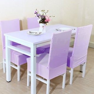 Spandex Stretch Dining Stool Chair Cover Protector Seat Slipcover Light Purple