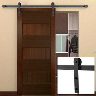 Belleze 6' FT Frosted Black, Antique Country Style Interior Sliding Barn Door Closet Track Kit