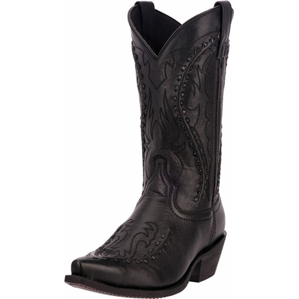 "Laredo Western Boots Mens Cowboy 12"" Bucklace Snip Black Goat"