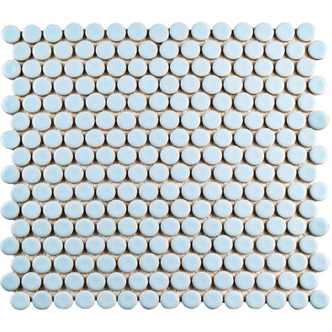 SomerTile 12x12.625-inch Penny Cashmere Blue Porcelain Mosaic Floor and Wall Tile